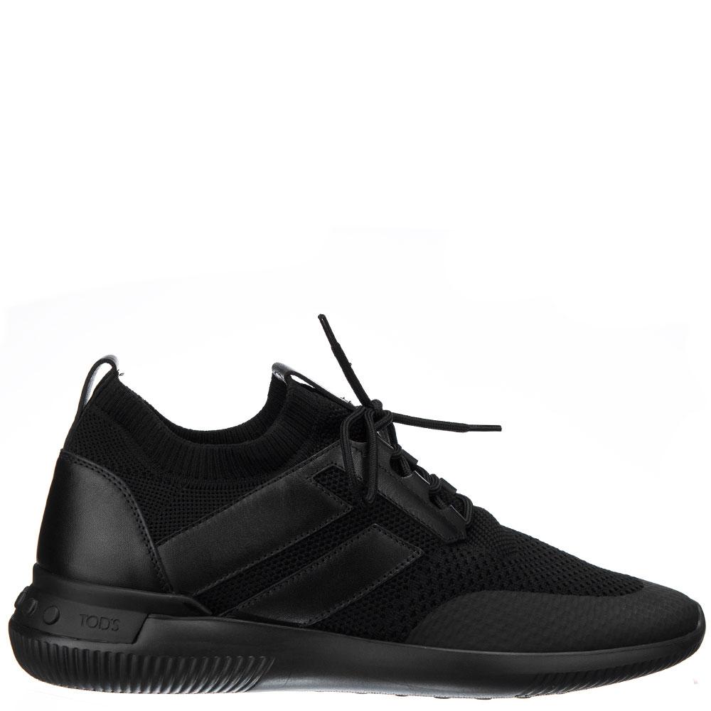 Черные кроссовки Tod's из кожи и текстиля