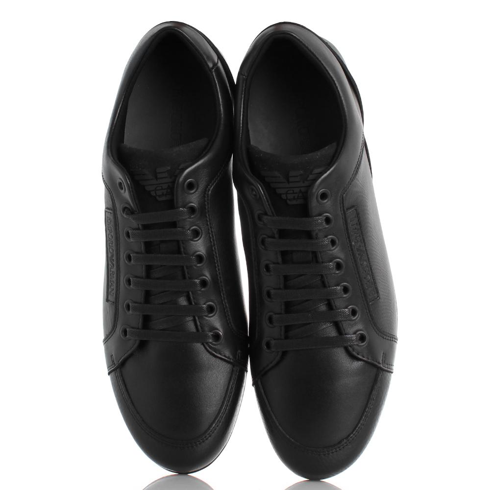 Спортивные туфли Emporio Armani из кожи черного цвета