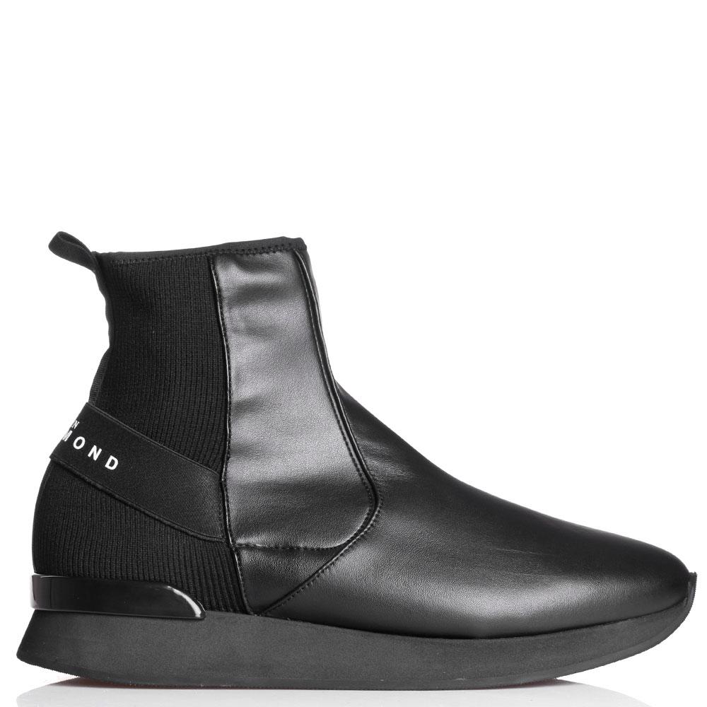 Черные кожаные ботинки John Richmond с текстильными элементами