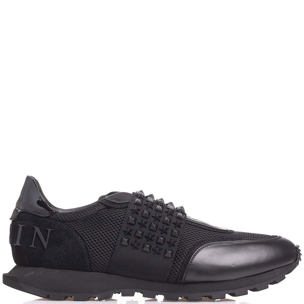 Кроссовки без шнуровки Philipp Plein черного цвета с декором-заклепками