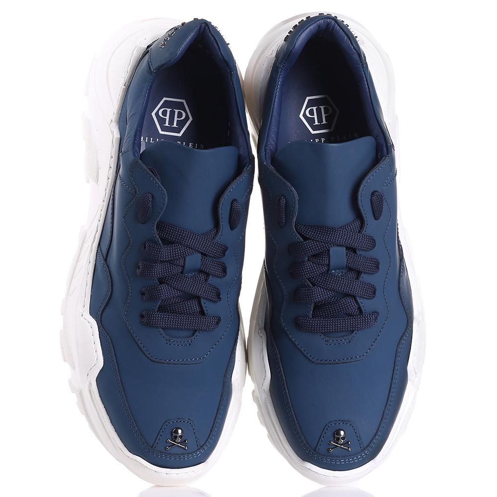 Синие кроссовки Philipp Plein на высокой подошве