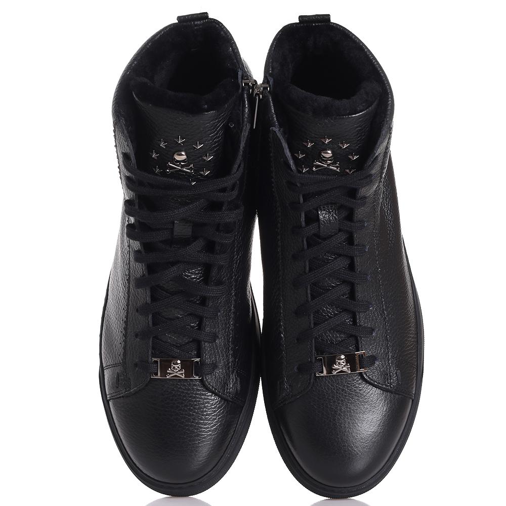 Черные ботинки Philipp Plein из зернистой кожи
