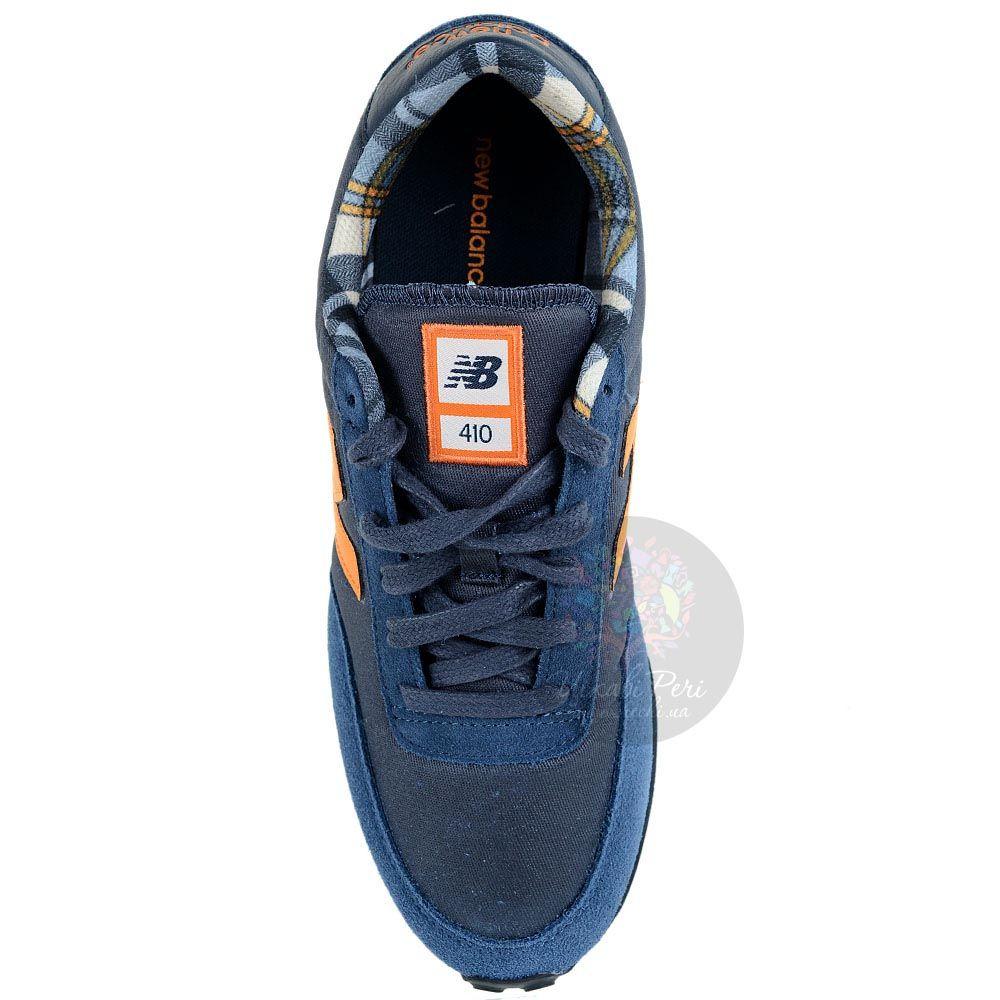 Кроссовки New Balance LifeStyle 410 замшевые вощеные серо-синие с оранжево-желтым