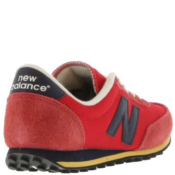 Кроссовки New Balance U410H красные с замшевыми вставками