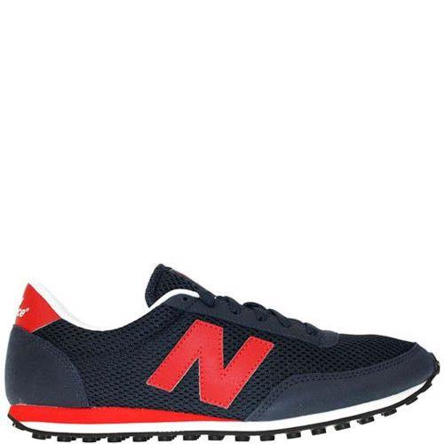 Кроссовки New Balance U410R мужские темно-синего цвета с красными вставками