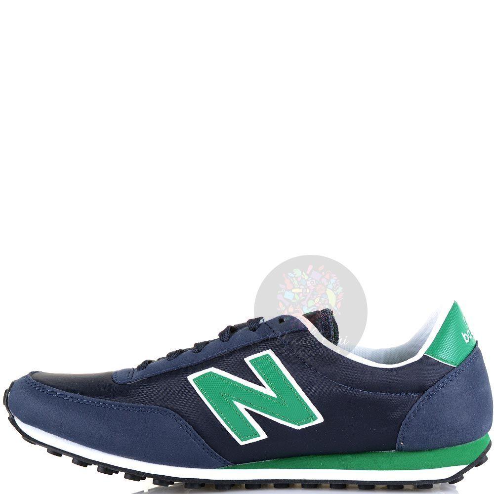 Кроссовки New Balance LifeStyle 410 замшевые темно-синие с зеленым