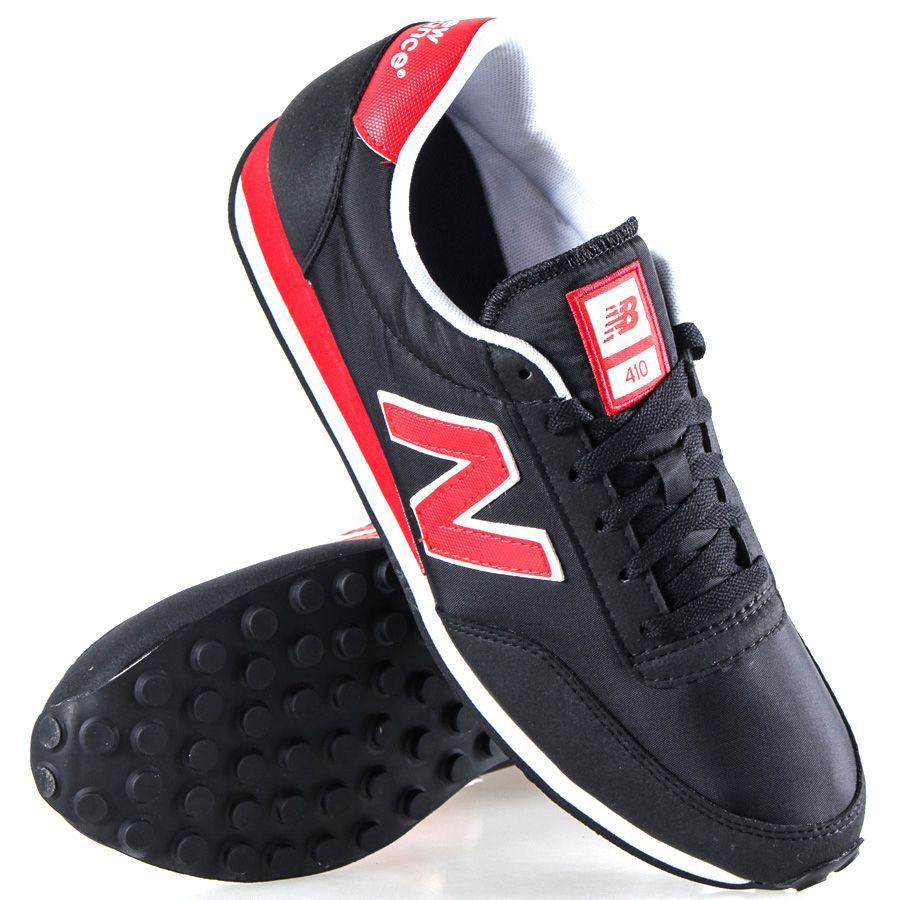 Кроссовки New Balance LifeStyle 410 замшевые вощеные черные с красным