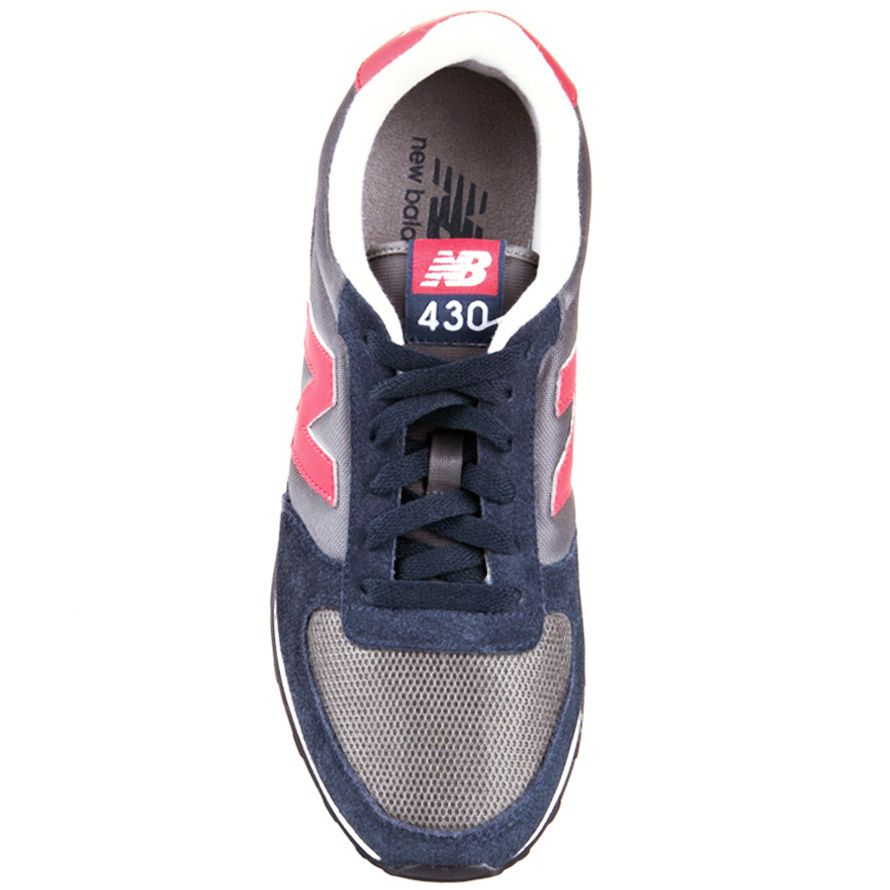 Кроссовки New Balance LifeStyle 430 замшевые вощеные сине-серые с красным