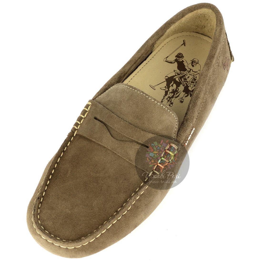 Туфли-мокасины U.S. Polo ASSN. из шикарной мягкой замши светло-коричненого цвета