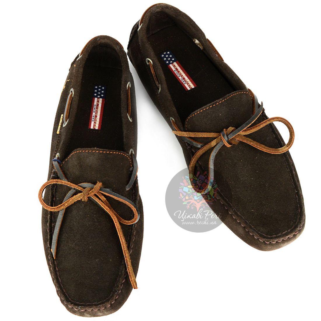 Мокасины U.S. Polo ASSN. из темно-коричненого замши со специальными шишечками на подошве