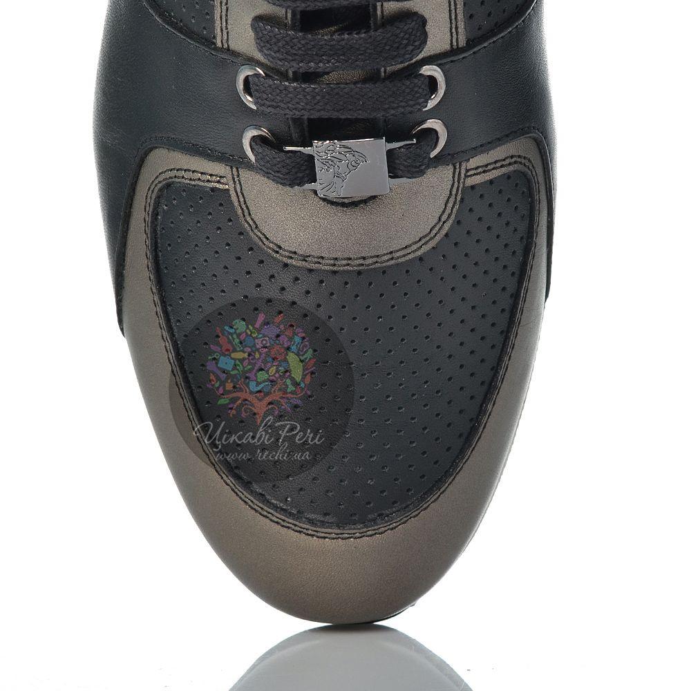 Кеды Versace Collection кожаные черные со вставками цвета ружейной стали