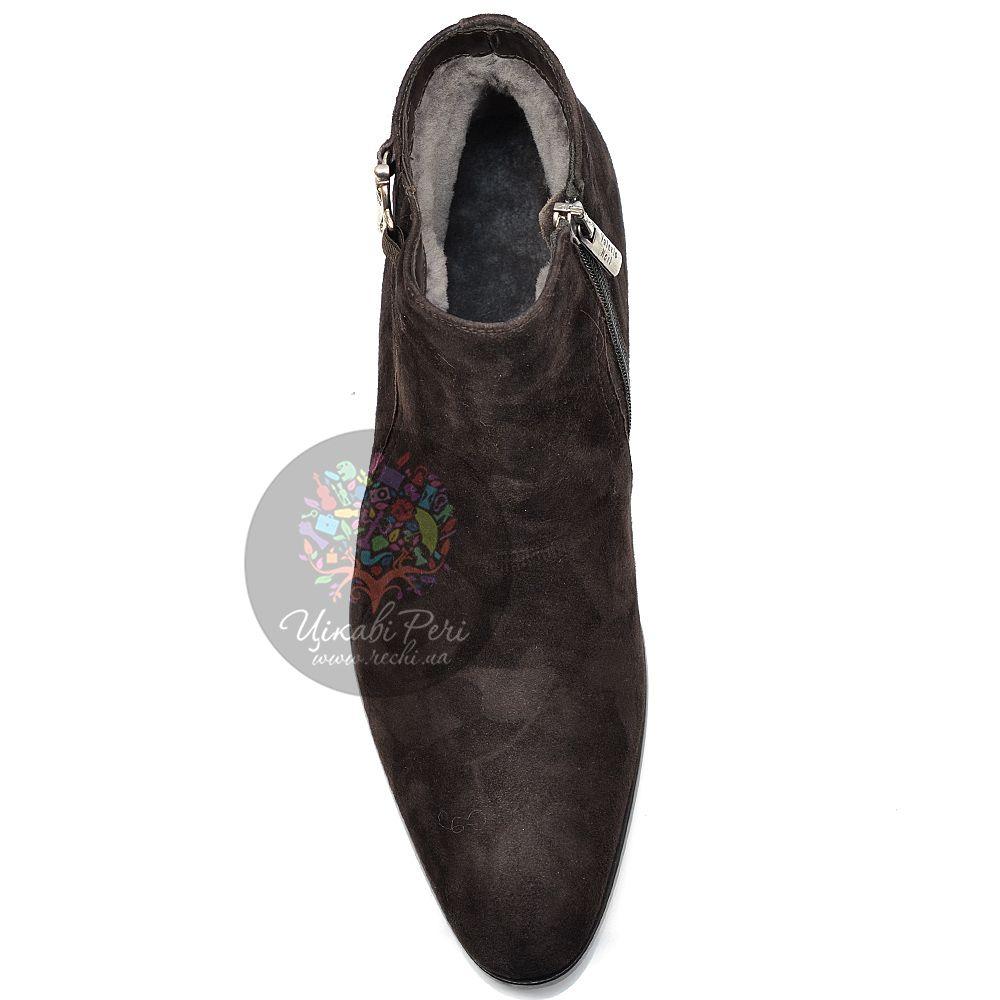 Ботинки Valerio Neri из замши коричневого цвета на натуральном меху