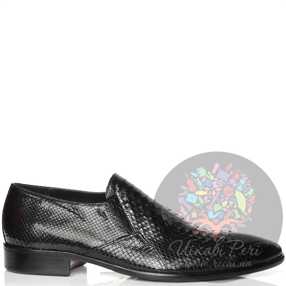 Туфли Valerio Neri кожаные черные с шикарной фактурой шкуры питона