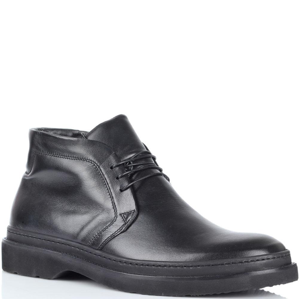 Мужские ботинки Fabi из натуральной кожи черного цвета на меху