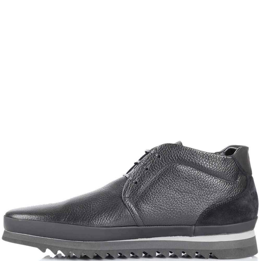Ботинки Gianfranco Butteriиз натуральной кожи черного цвета на протекторной подошве