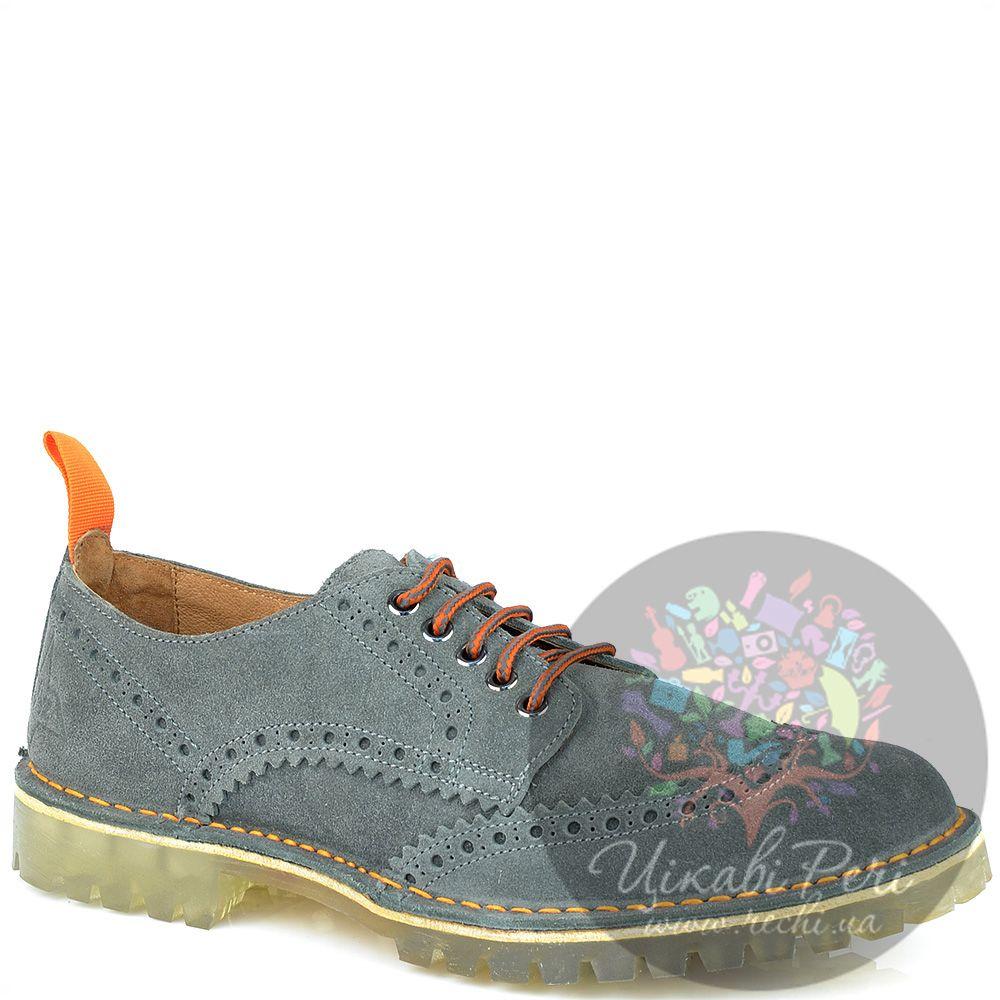 Туфли W6YZ из серой замши с голубым оттенком на протекторной подошве