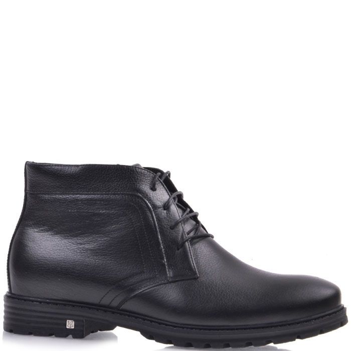 Кожаные ботинки Prego черного цвета на тракторной подошве