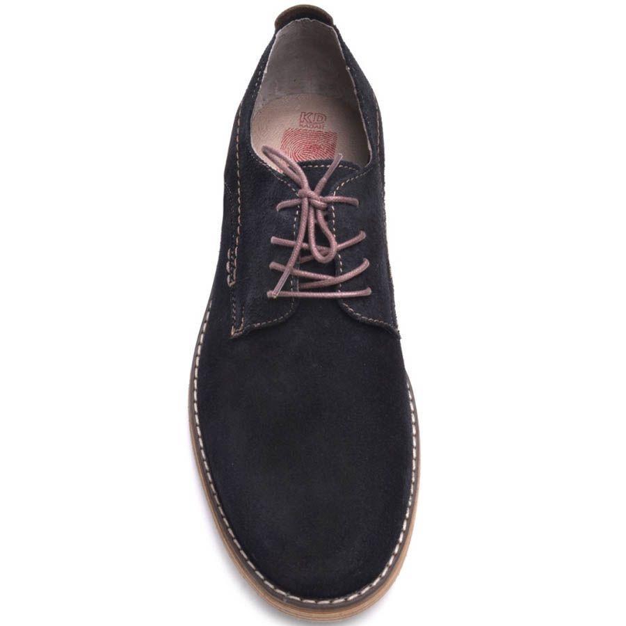 Туфли Prego мужские замшевые черные с тонкими коричневыми шнурками