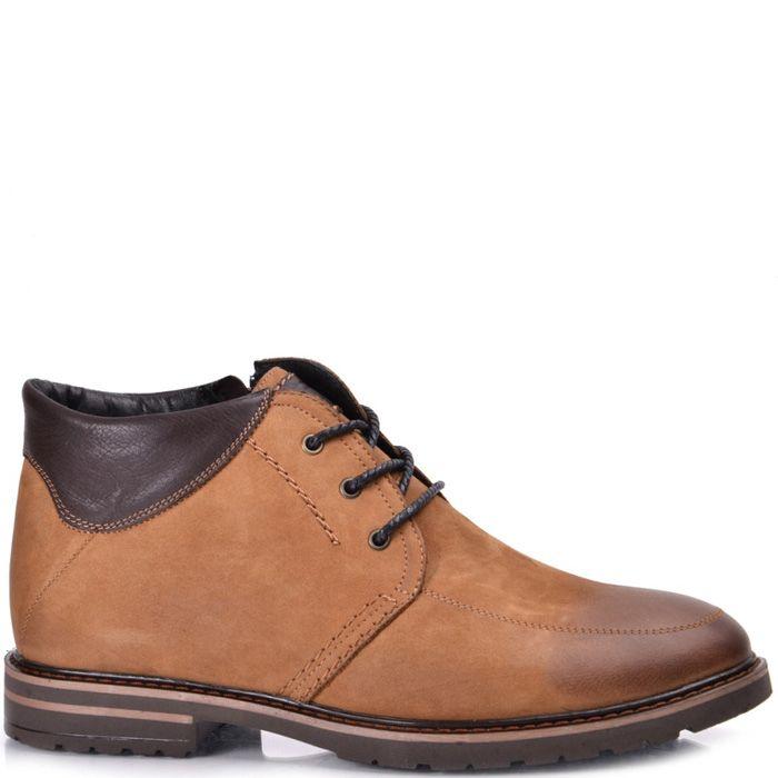 Ботинки зимние Lucky Choice коричневый нубук с кожаной вставкой