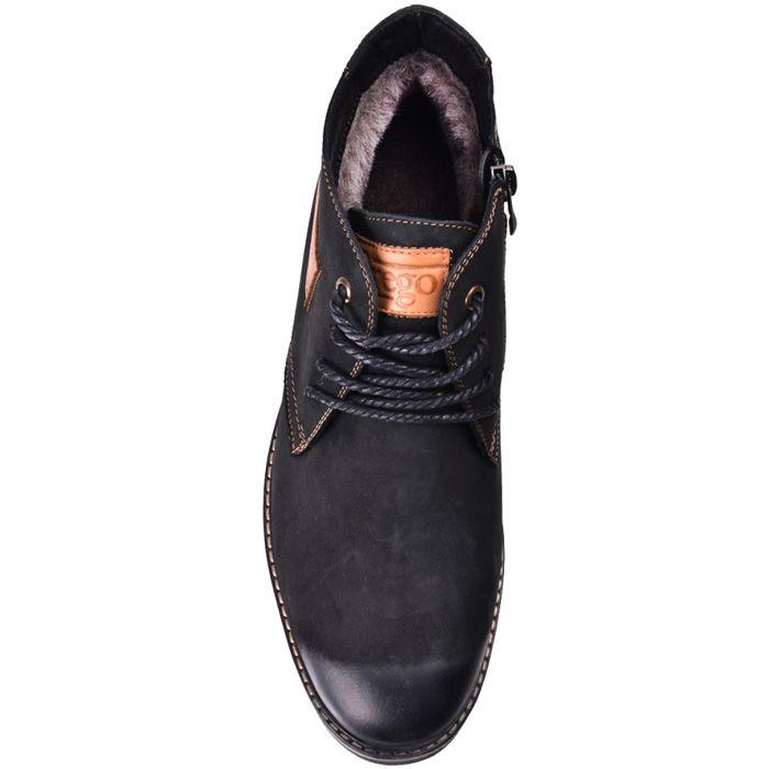 Ботинки зимние Lucky Choice из черного нубука с кожаным лейблом