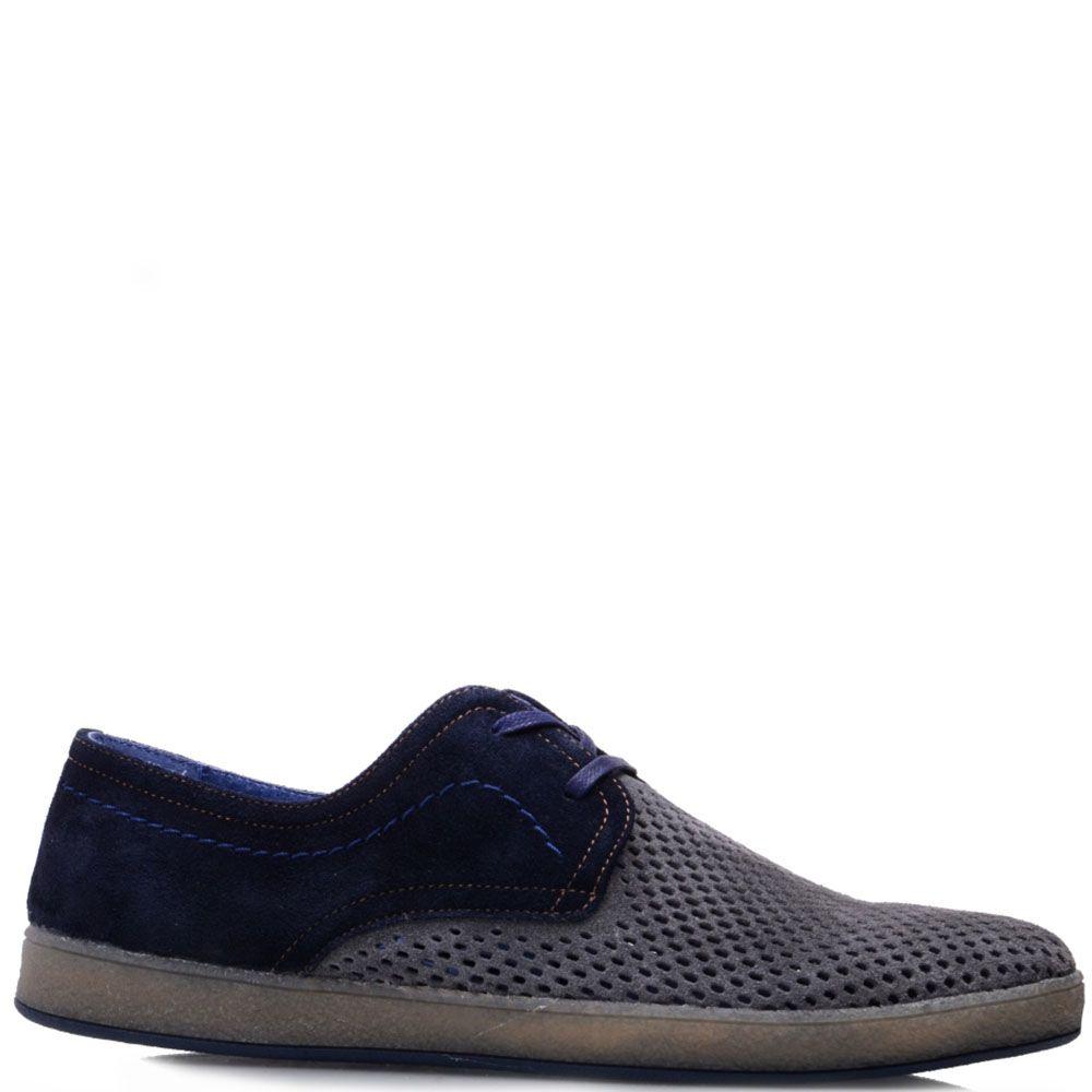 Туфли Prego из натуральной серо-синей замши с перфорацией на носочке