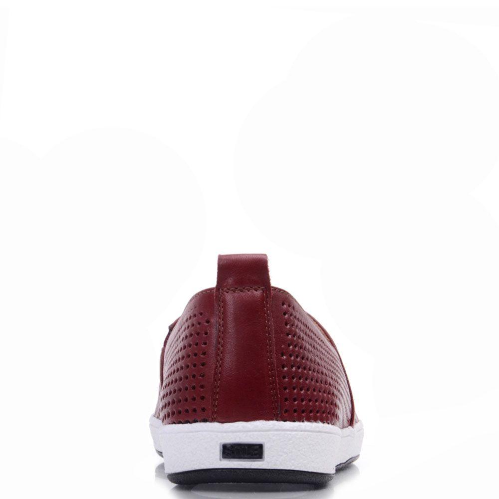 Туфли Prego из натуральной перфорированной кожи бордового цвета на белой подошве