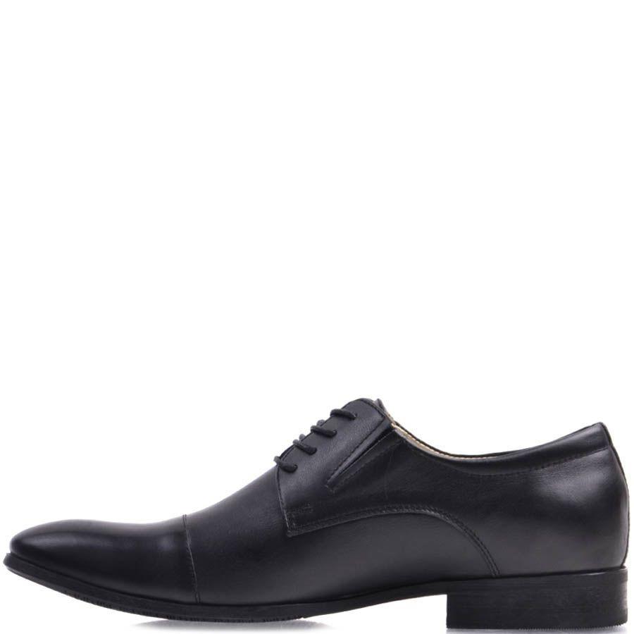 Туфли дерби Prego черного цвета из гладкой натуральной кожи на шнуровке