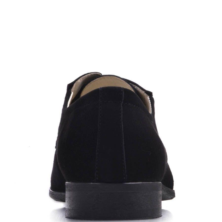 Туфли дерби Prego черного цвета из натуральной замши на шнуровке