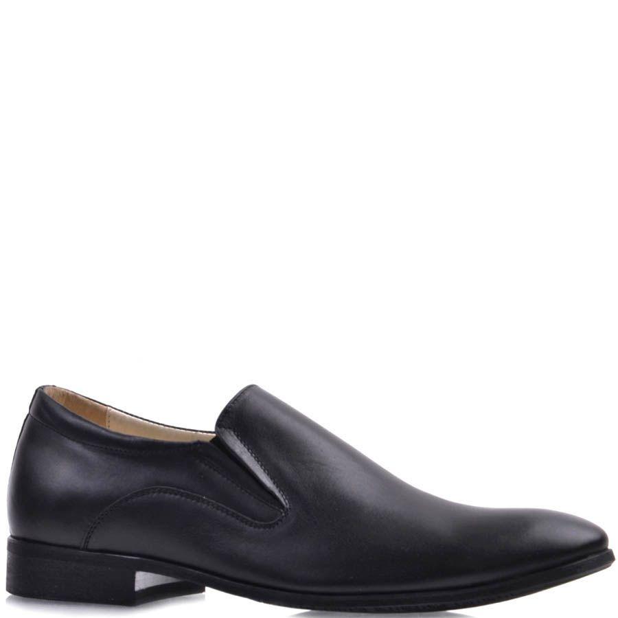 Туфли Prego черного цвета гладкие из натуральной кожи