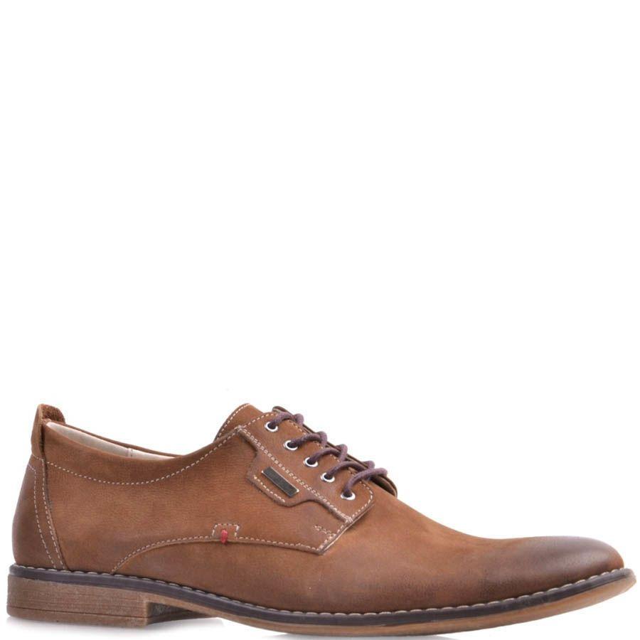 Туфли Prego коричневого цвета из нубука на шнуровке с затемненным носком