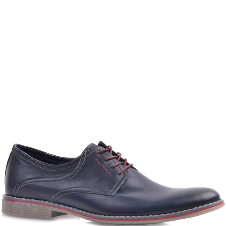 Туфли Prego синего цвета с красными шнурками и красной вставкой вдоль подошвы