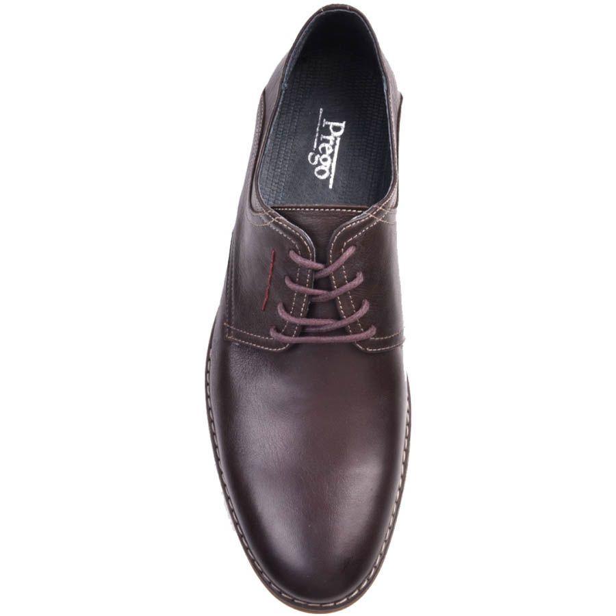 Туфли Prego классические шоколадного оттенка и декоративными красными строчками