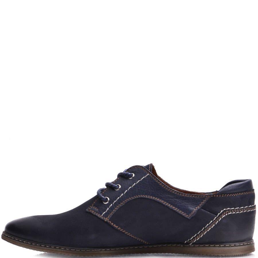 Туфли Prego мужские из нубука синего цвета с гладким носком