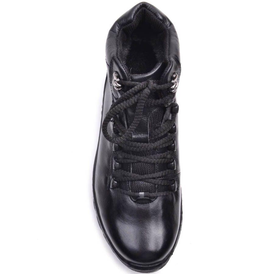 Ботинки Prego зимние черного цвета кожаные с двумя металлическими крючками для шнуровки