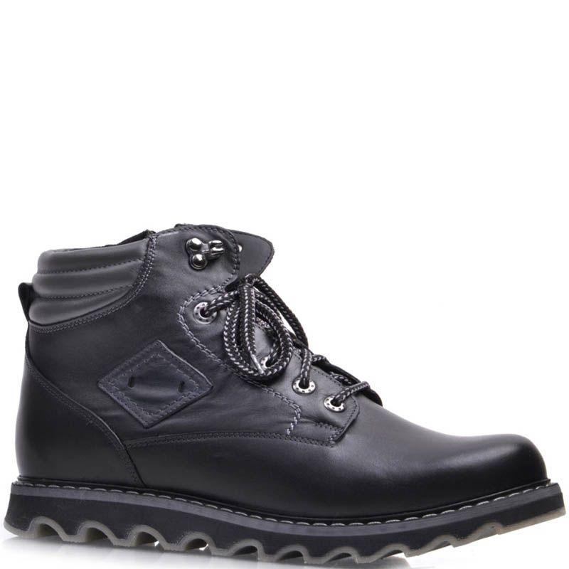 Ботинки Prego зимние черного цвета кожаные на меху с рельефной подошвой