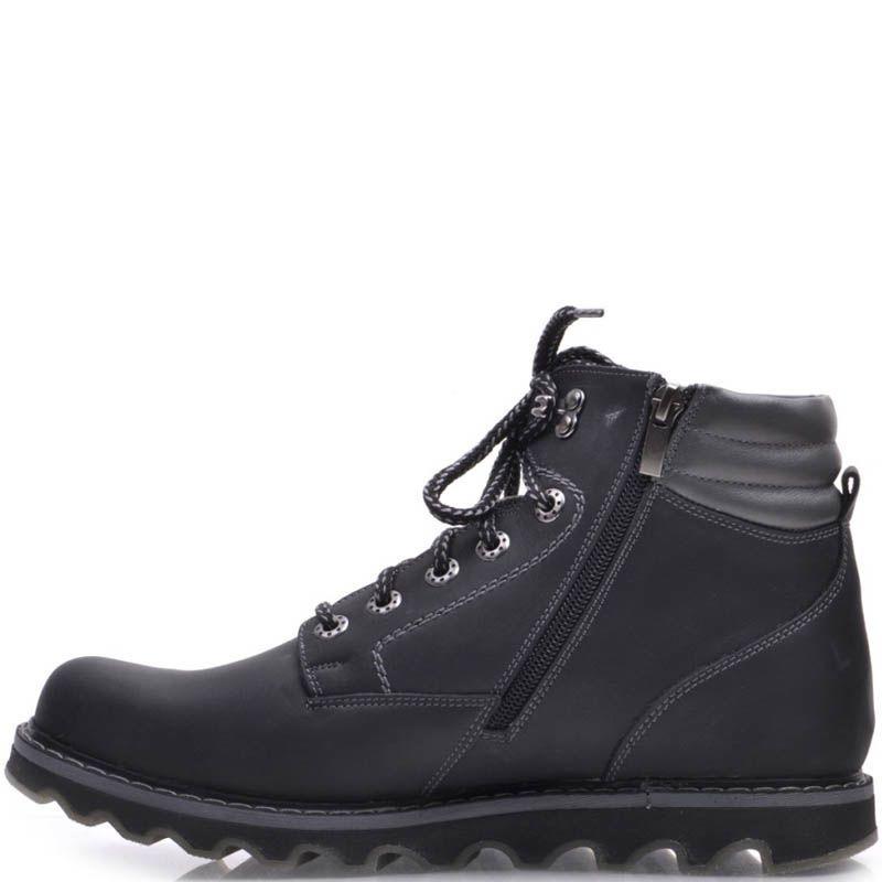 Ботинки Prego зимние черного цвета из нубука на меху с рельефной подошвой