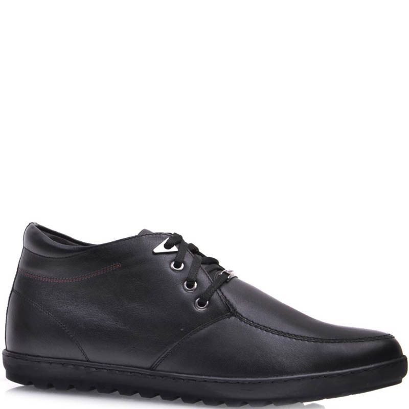 Ботинки Prego зимние черного цвета из гладкой кожи на меху с боковой молнией