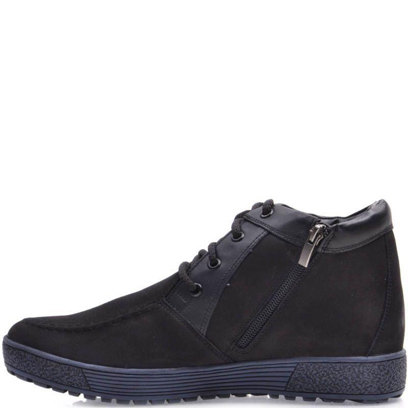 Ботинки Prego зимние черного цвета из нубука с наружным швом на носке и синей подошвой