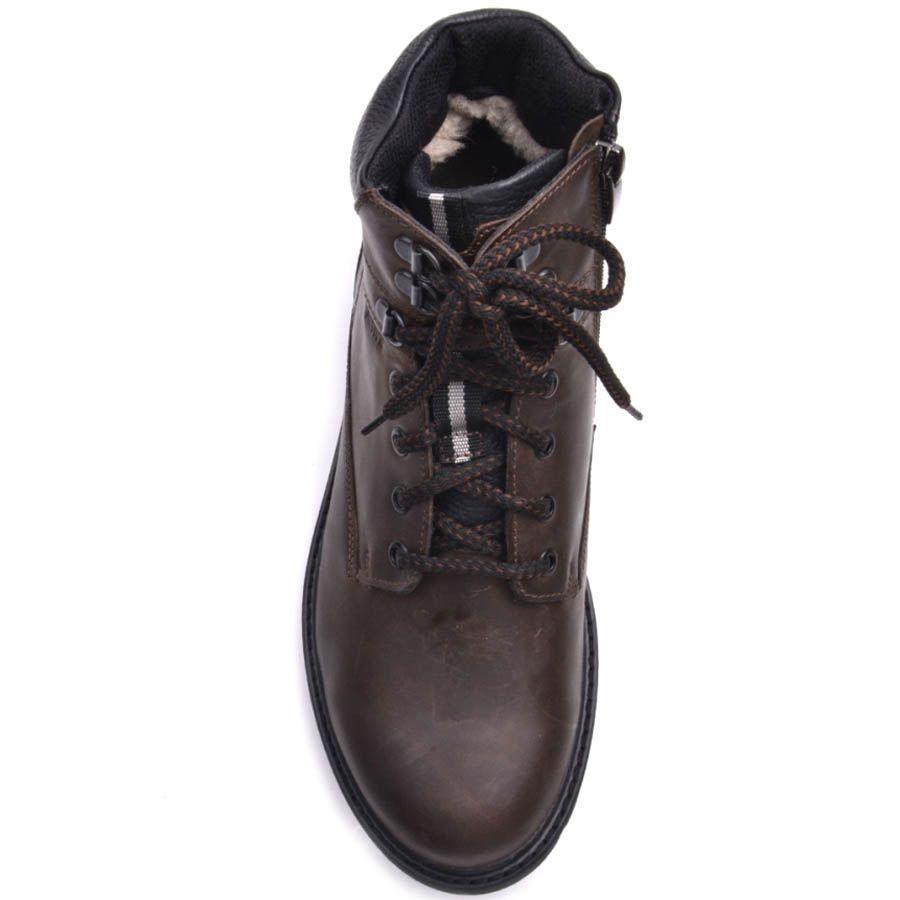 Ботинки Prego зимние коричневого цвета с металическими петлями для шнурков
