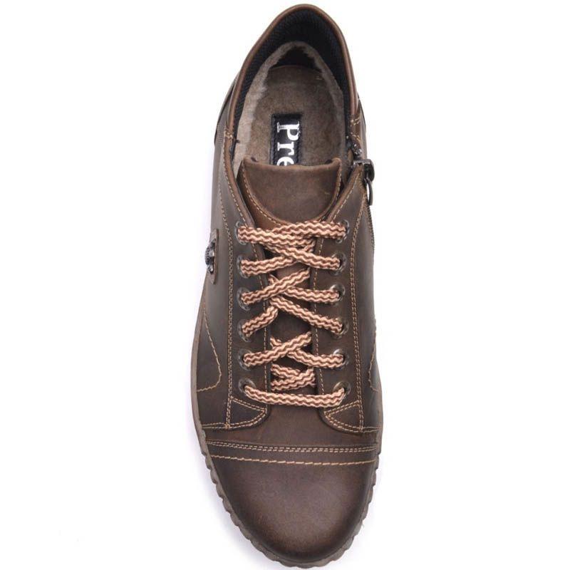 Ботинки Prego зимние коричневого цвета из нубука на меху с металическим декором