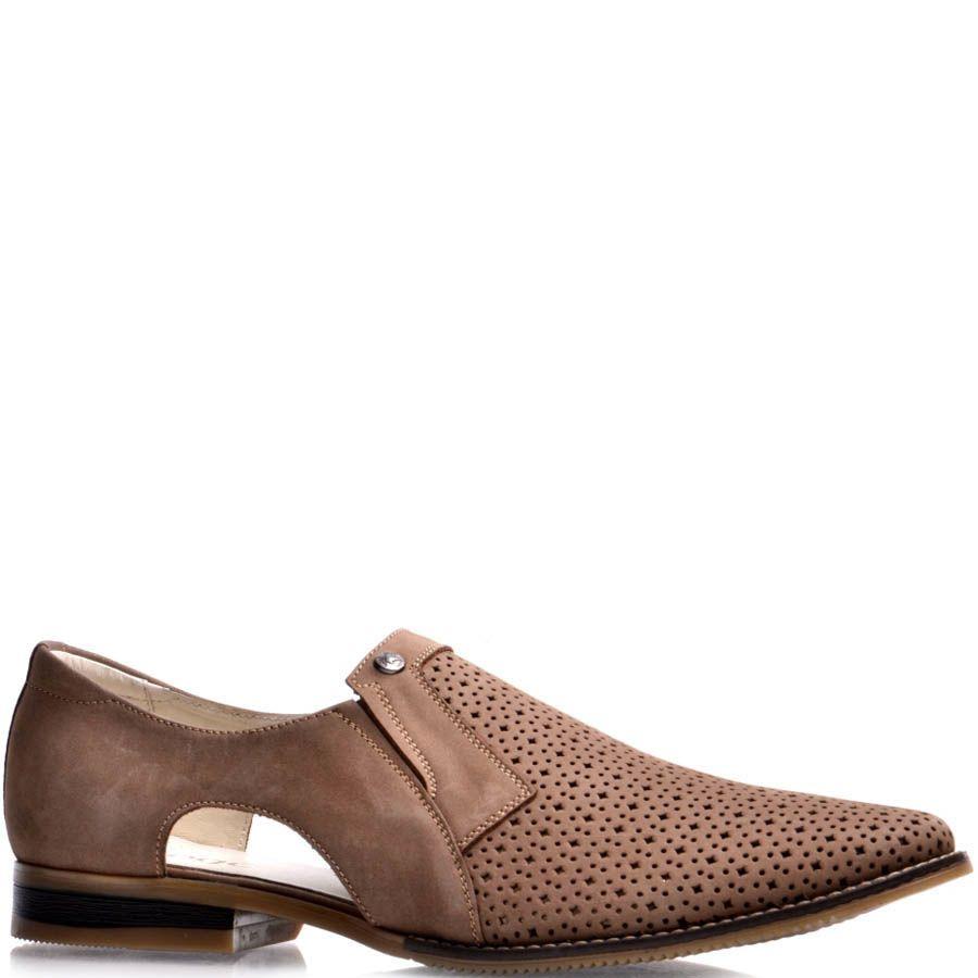 Туфли Prego из бежевого нубука с вырезами