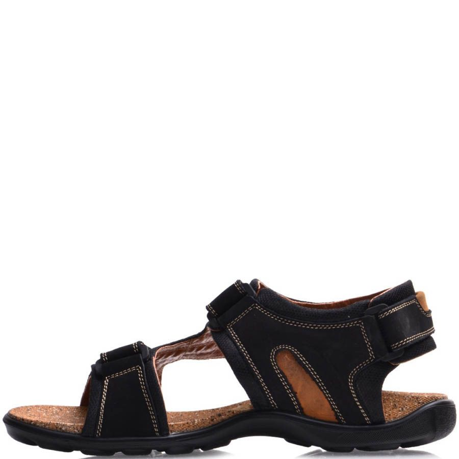 Сандалии Prego спортивные черного цвета с липучками и пробковой серединой