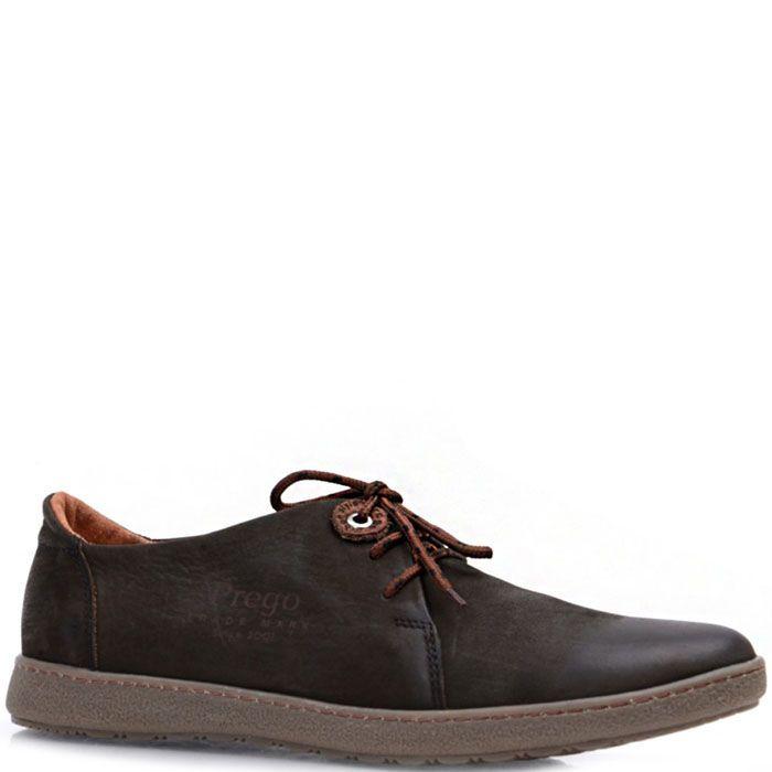 Туфли на шнуровке Prego из нубука темно-оливкового цвета