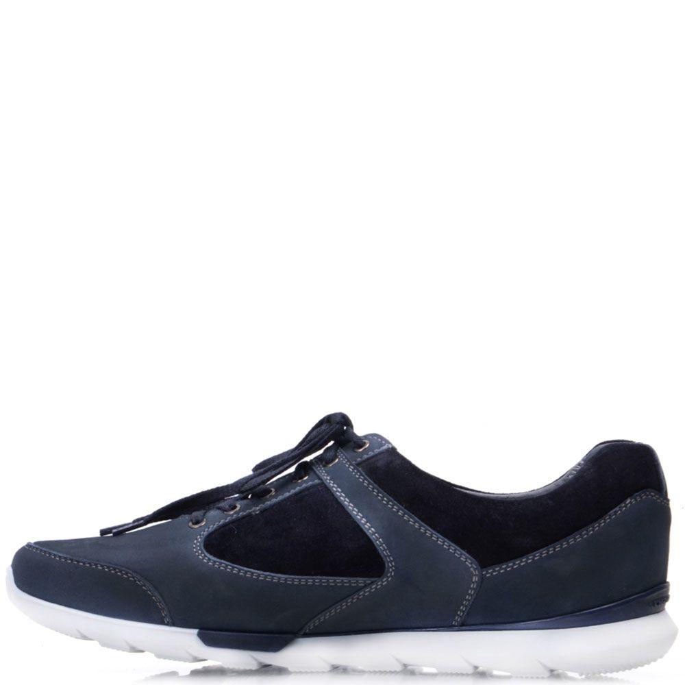 Кроссовки Prego из натурального синего нубука с черными вставками