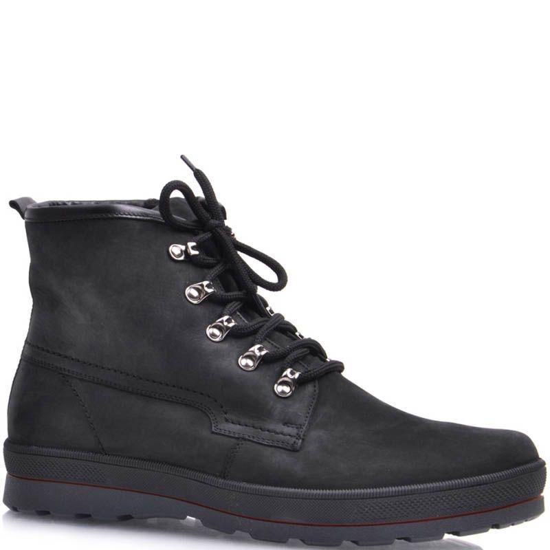 Ботинки Prego зимние спортивные на меху черного цвета с металлическими петлями для шнуровки