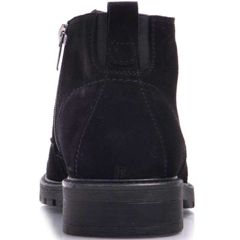 Ботинки Prego зимние из натуральной замши на меху черного цвета с тонкой шнуровкой и молнией