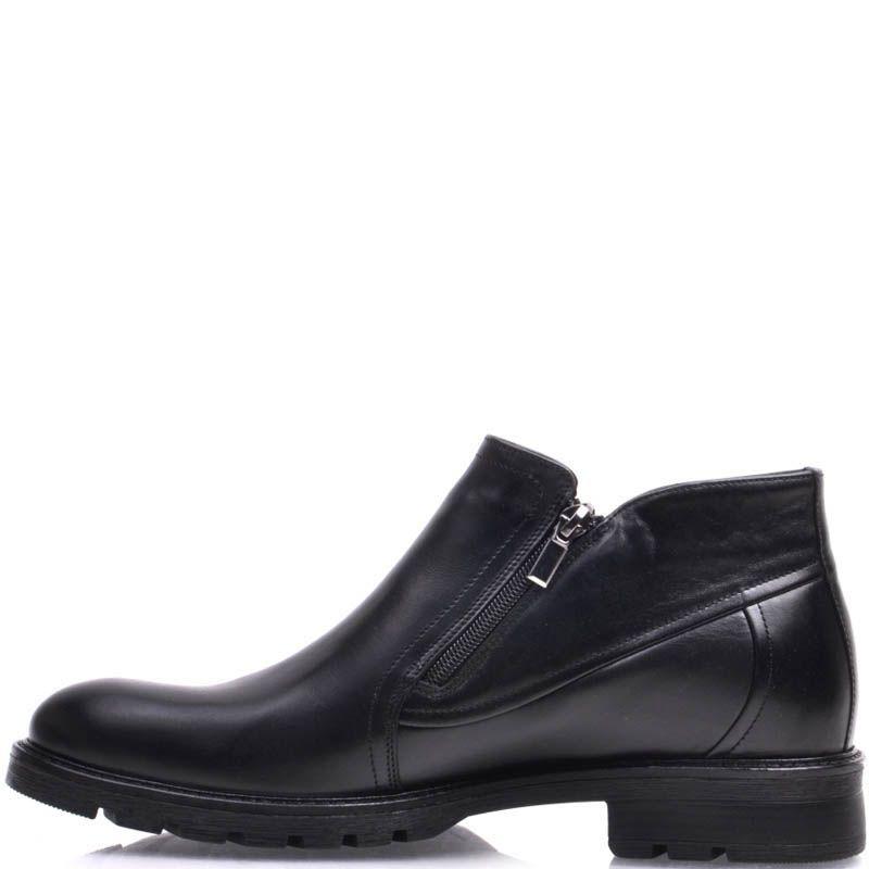 Ботинки Prego зимние на меху до щиколотки черного цвета с молниями по бокам