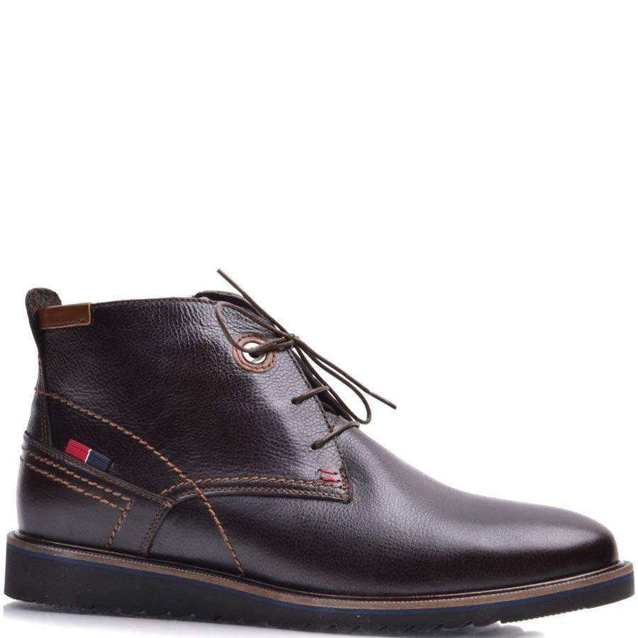 Ботинки-дезерты Prego зимние коричневого цвета с тонкими шнурками