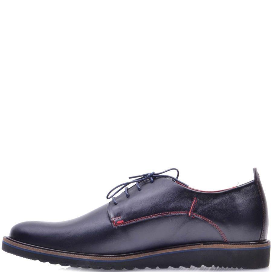 Туфли Prego синего цвета с красной строчкой и синей тонкой линией дволь подошвы