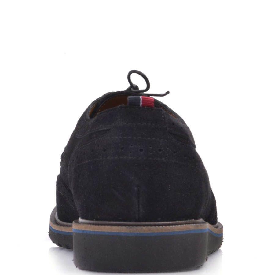 Туфли-броги Prego черного цвета замшевые с тонкой синей линией вдоль подошвы